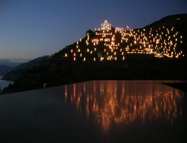 The illuminated nativity in Manarola